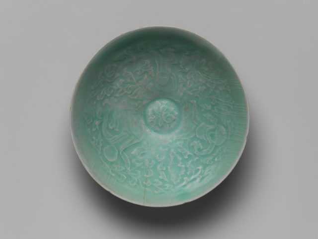 Bowl with Two Boys and Lotuses