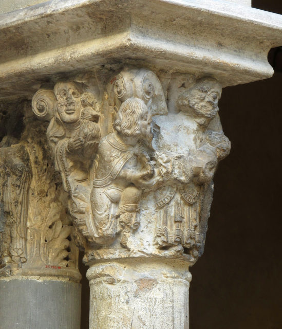 Capital with the Presentation of Christ in the Temple (from Saint-Guilhem Cloister)