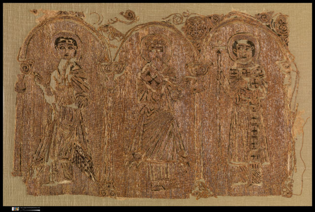 Embroidered Fragments with Three Saints