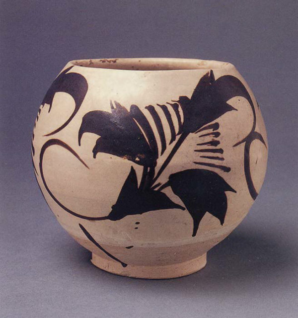 Jar with Abstract Floral Design
