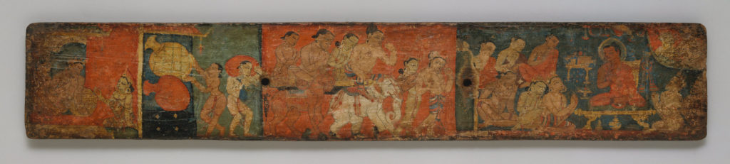 Pair of Manuscript Covers with Buddhist Scenes