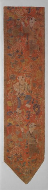 Vertical Pendant with Boys in a Lotus Scroll