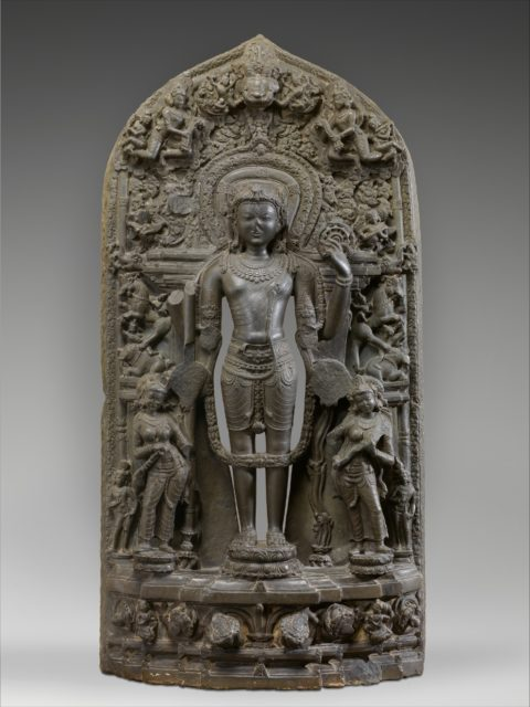 Vishnu Accompanied by Lakshmi and Sarasvati