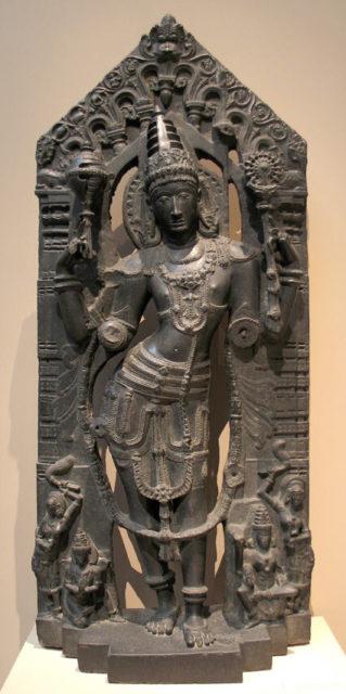 Vishnu with His Mount, Garuda, His Consort, Lakshmi, and Attendants