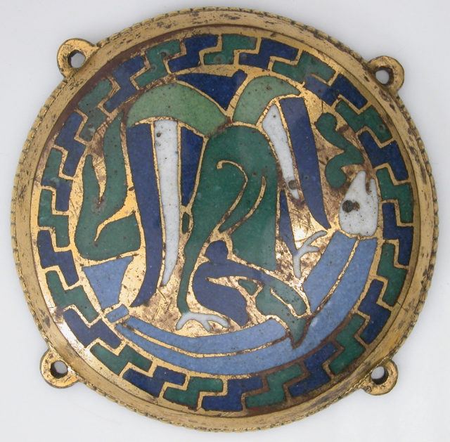 Eagle Attacking a Fish (one of five medallions from a coffret)