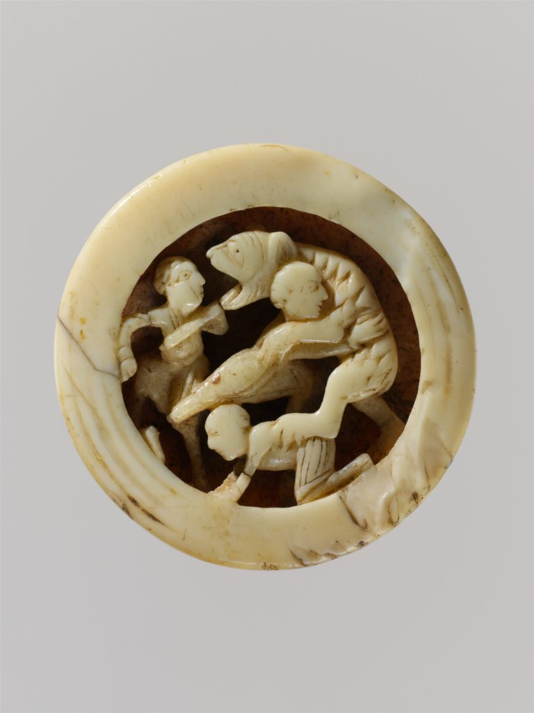 Game Piece with Menelaus and Companions Battling Proteus