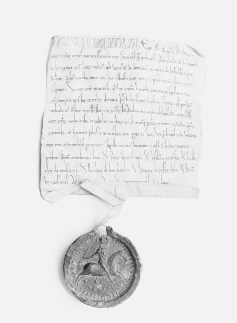 Parchment Document and Seal of Philip of Alsace, Count of Flanders (1168–91) and of Vermondois (1155–91)
