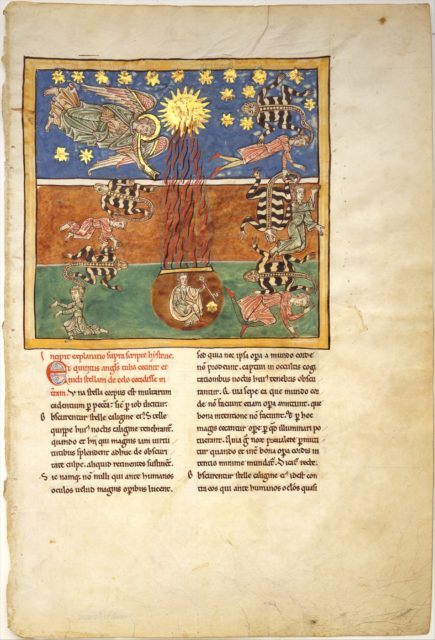 Leaf from a Beatus Manuscript: at the Clarion of the Fifth Angel's Trumpet, a Star Falls from the Sky; the Bottomless Pit is Opened with a Key; Emerging from the Smoke, Locusts Come Upon the Earth and Torment the Deathless