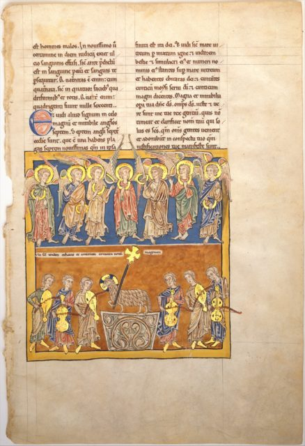 Leaf from a Beatus Manuscript: Seven Angels Hold the Cups of the Seven Last Plagues; The Hymn of the Lamb