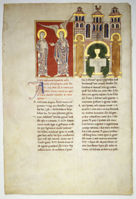 Leaf from a Beatus Manuscript: the Angel of the Church of Philadelphia with Saint John