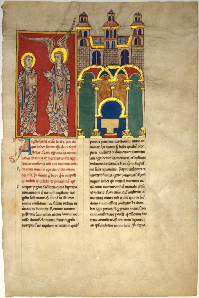 Leaf from a Beatus Manuscript: the Angel of the Church of Sardis with Saint John