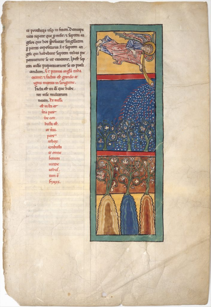 Leaf from a Beatus Manuscript: the First Angel Sounds the Trumpet; Fire, Hail-stones, and Blood are Cast Upon the Earth