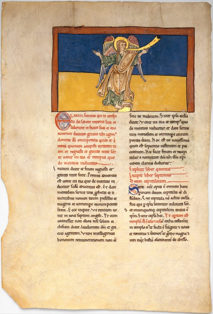 Leaf from a Beatus Manuscript: the Seventh Angel Proclaims the Reign of the Lord