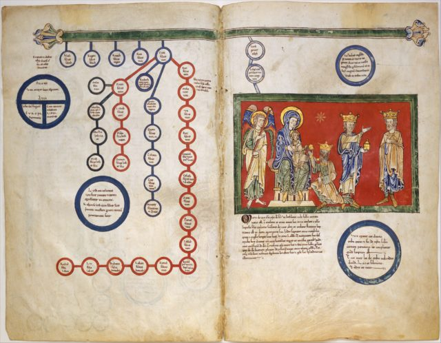 Leaves from a Beatus Manuscript: Bifolium with part of the Genealogy of Christ and the Adoration of the Magi