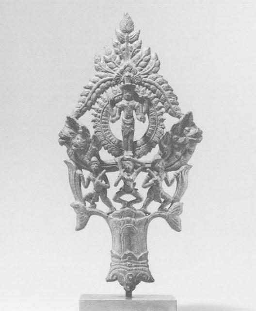 Finial with the Earth Goddess, Nan Brah Dharani, and Standing Vishnu