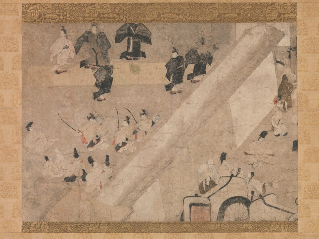 """""""Imperial Visit to the Great Horse Race at the Kaya-no-in Mansion"""" (Kaya-no-in komakurabe gyōkō emaki), from the Tale of Flowering Fortunes (Eiga monogatari)"""
