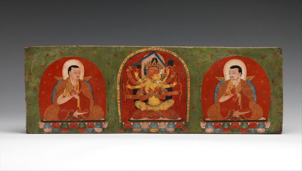 Interior of a Book Cover: Manjuvajra Embracing His Consort, with Attendant Lamas