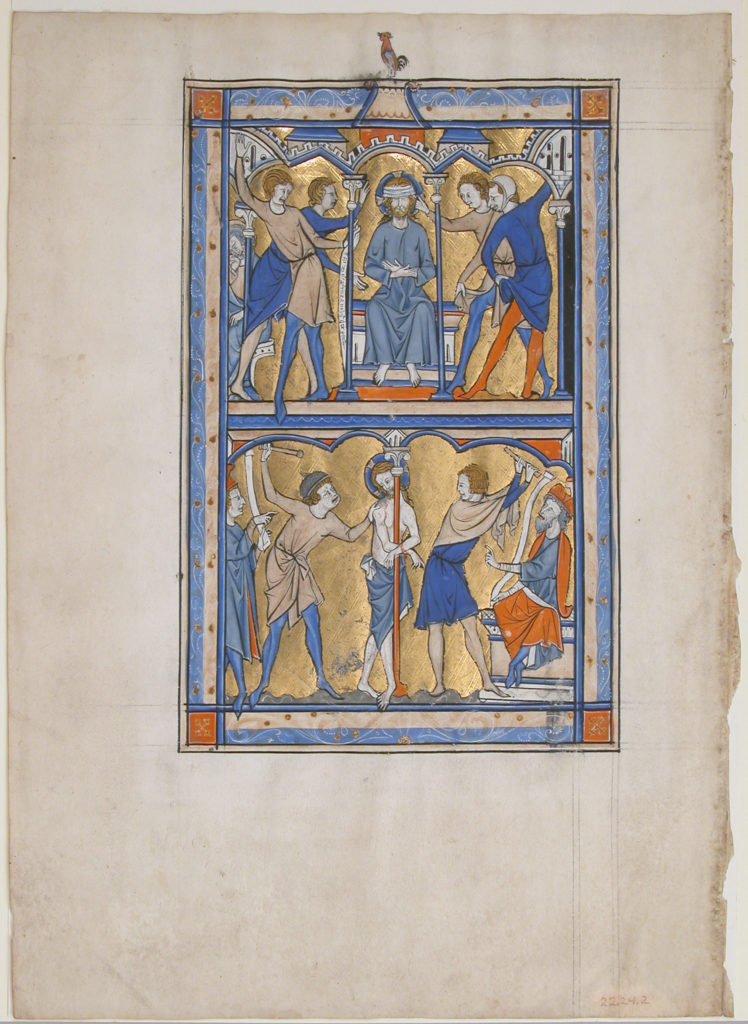 Manuscript Leaf with the Mocking and Flagellation of Christ, from a Royal Psalter