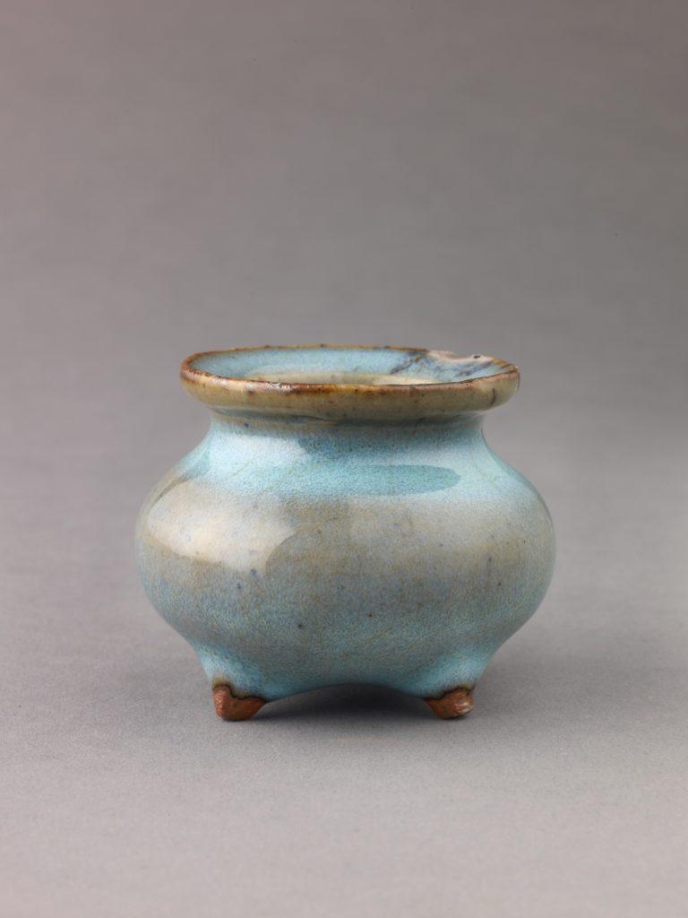 Miniature incense burner, Jun ware