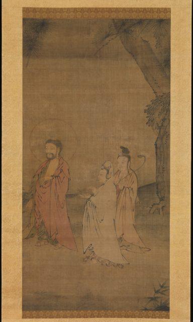 Sakyamuni and Attendant Bodhisattvas in a Landscape