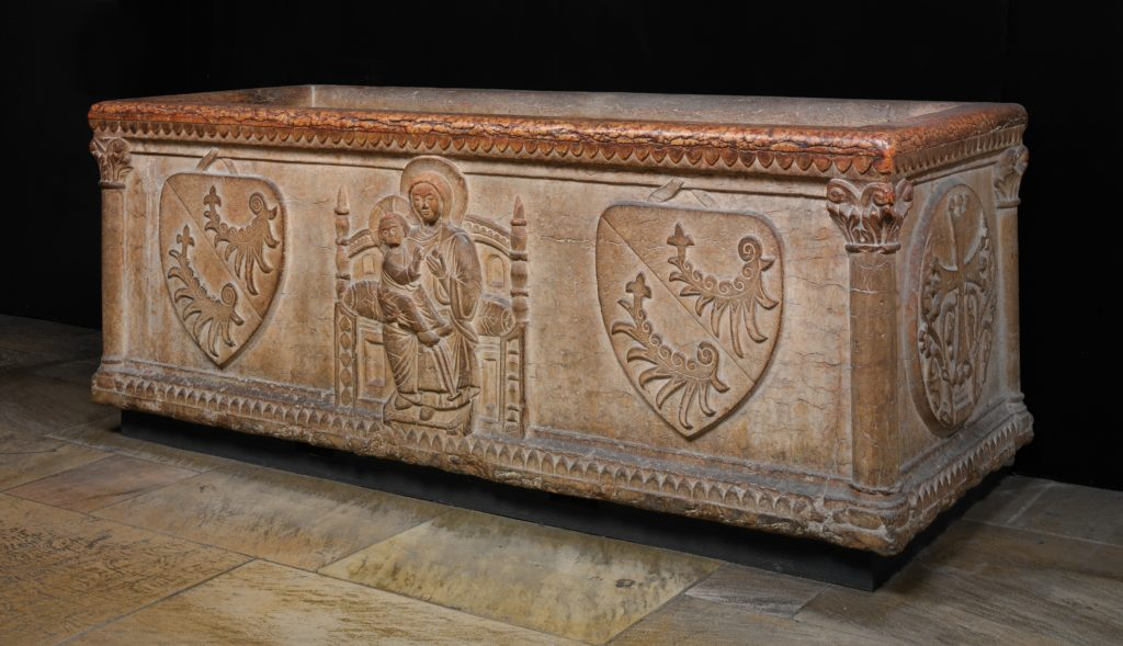 Sarcophagus with Virgin and Child and the Arms of the Sanguinacci Family