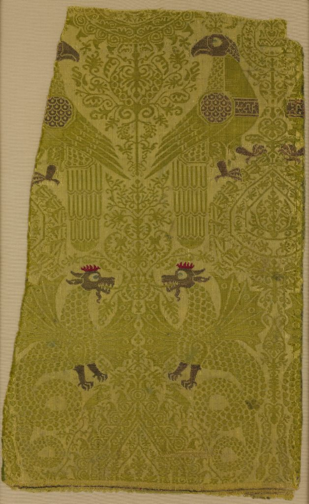 Textile Fragment with brocade with Bird, Dragon, and Palmette Motifs