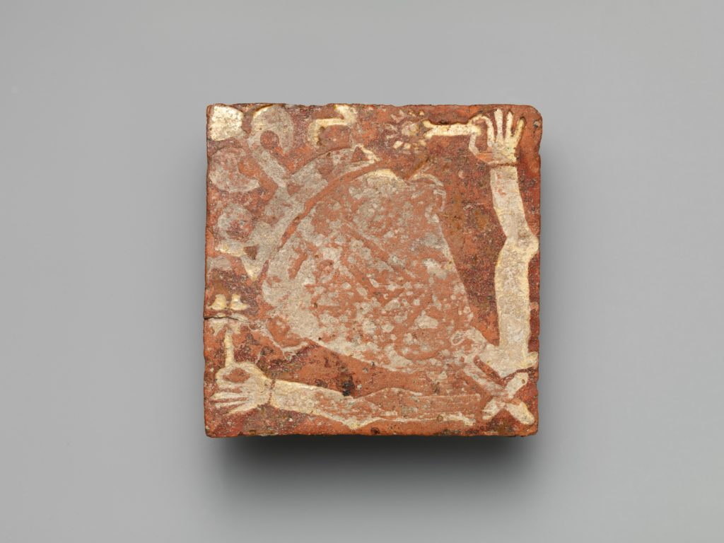 Tile with a King Holding Flowers