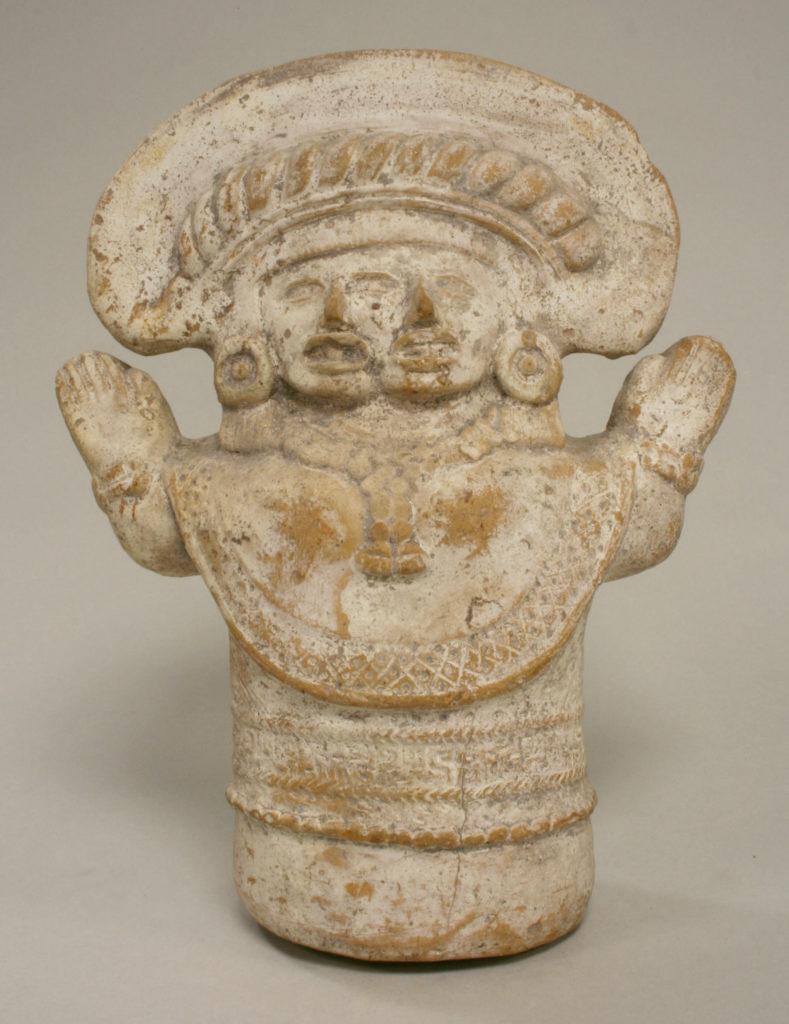 Two-headed figure rattle