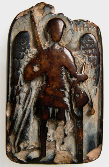 Two-Sided Pendant with the Archangel Michael and Daniel in the Lion's Den