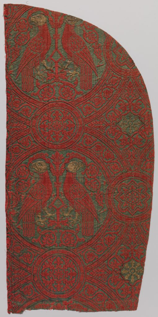 Woven Silk with Paired Parrots in Roundels