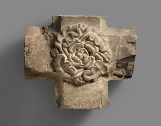Limestone Keystone from a Vaulted Ceiling