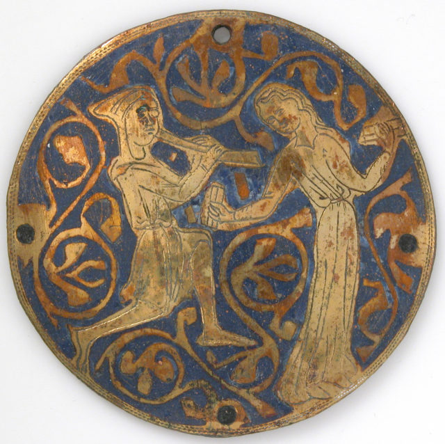 Medallion with Youth Playing Pipe for Dancing Woman with Castanets
