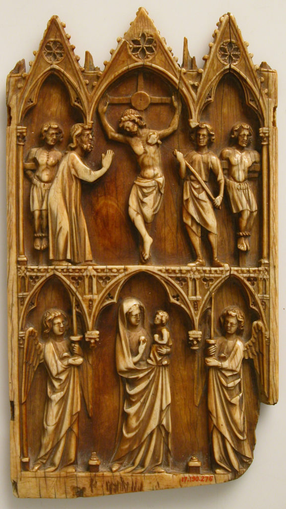 Central Portion from a Triptych with the Crucifixion and Virgin and Child