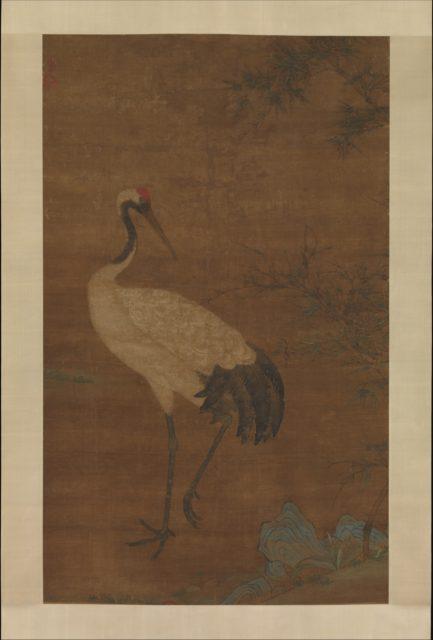 Crane in a bamboo grove