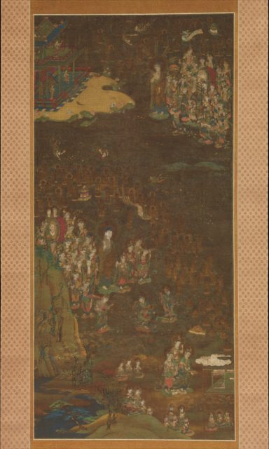 Descent and Return of Amida to Western Paradise with a Believer's Soul (Gōshō mandara)