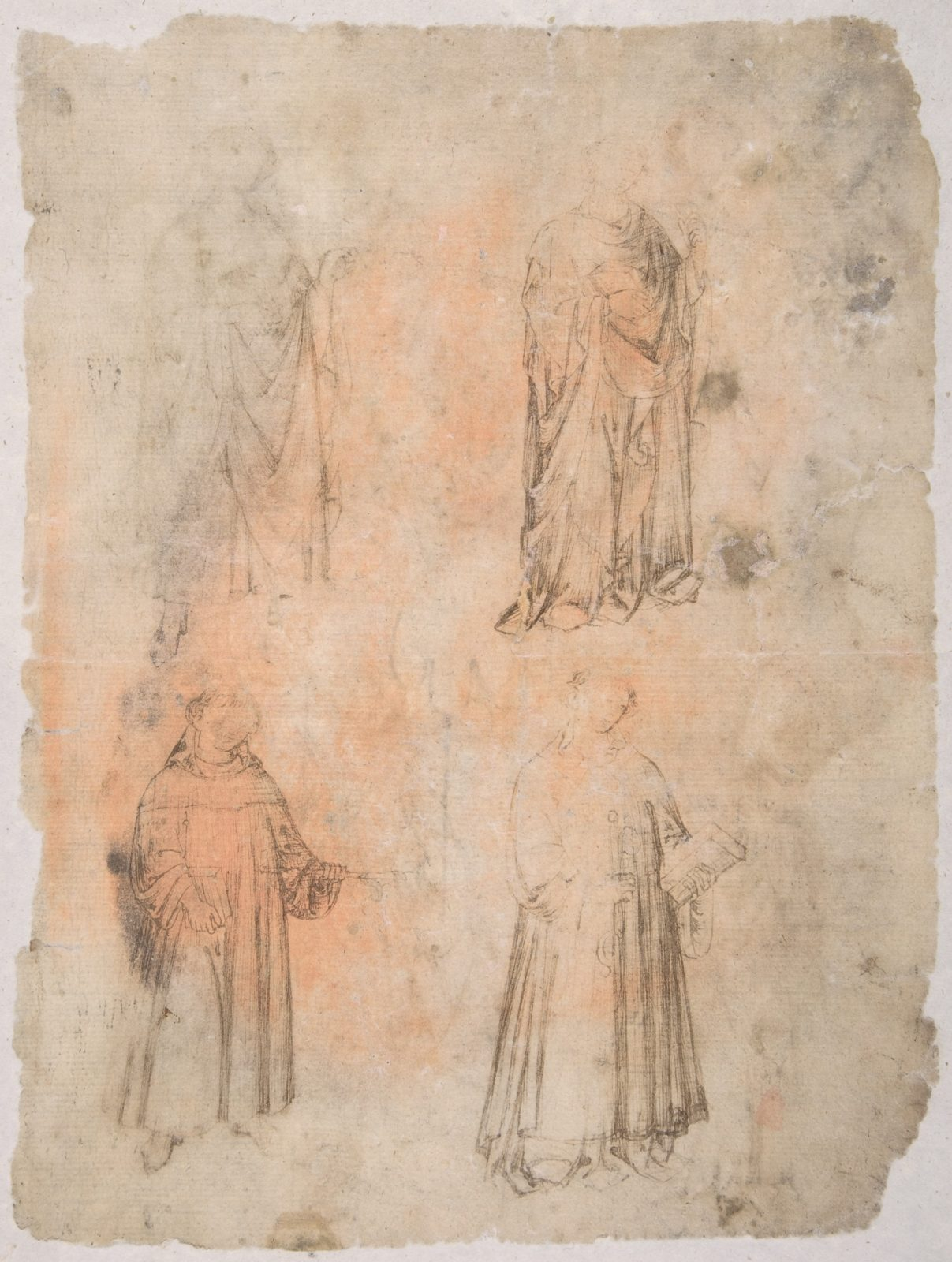 Four Saints (recto); Two Saints, Seated Madonna, and Kneeling Figure (verso)