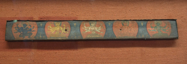 Manuscript Cover with Four Vidyadevis Accompanied by a Protective Deity