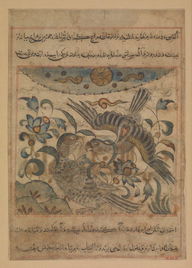"""Pair of Eagles"", Folio from a Manafi' al-Hayawan (On the Usefulness of Animals) of Ibn Bakhtishu'"