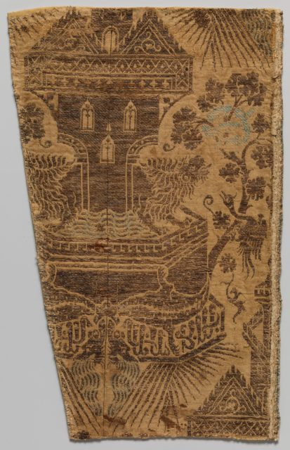 Textile with Architectural Fountain Guarded by Lions