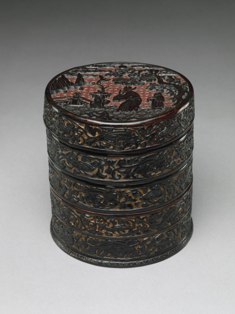 Tiered Box with Scholar-Official in a Landscape