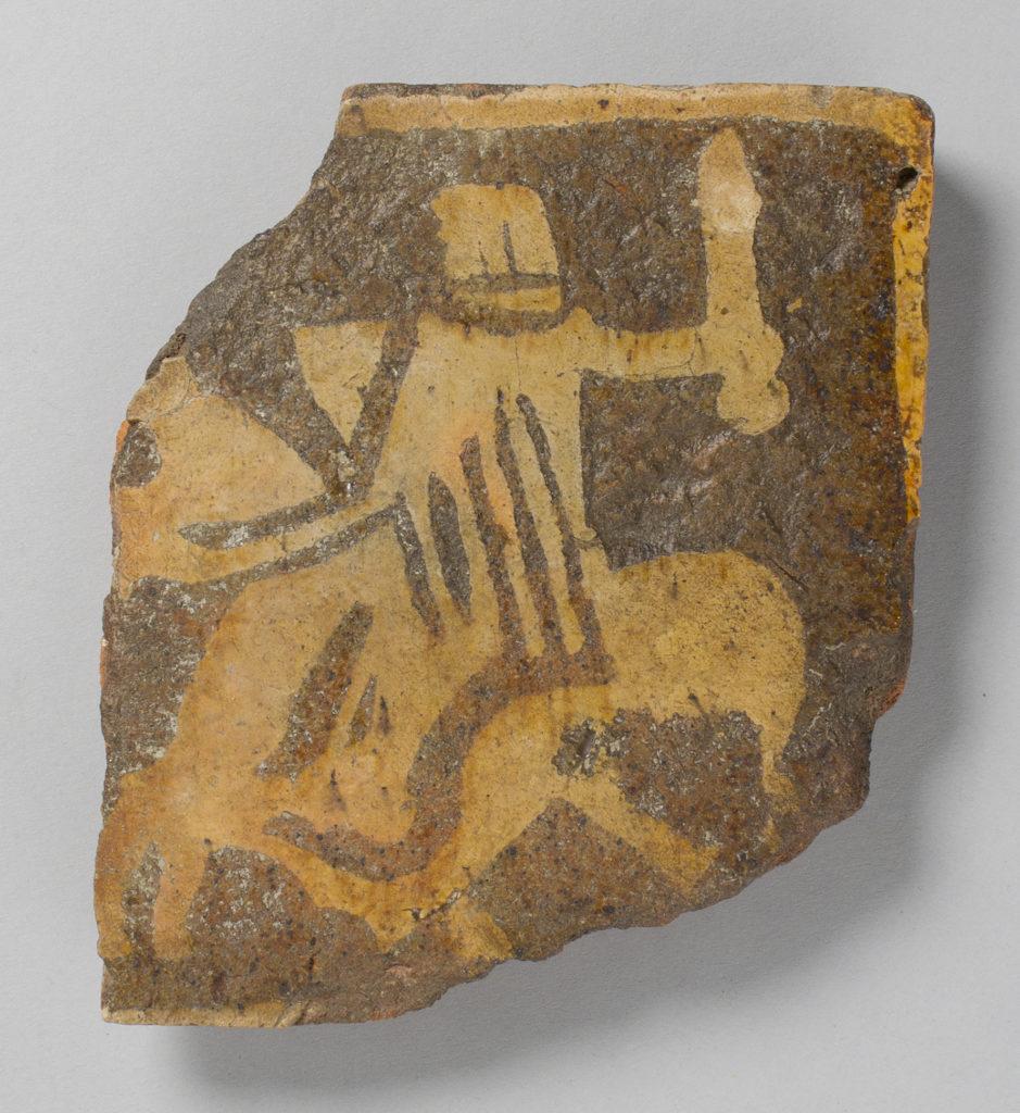 Tile, with helmeted knight on horseback