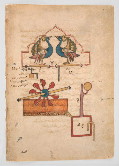 """Design for the Water Clock of the Peacocks"", from the Kitab fi ma'rifat al-hiyal al-handasiyya (Book of the Knowledge of Ingenious Mechanical Devices) by Badi' al-Zaman b. al Razzaz al-Jazari"