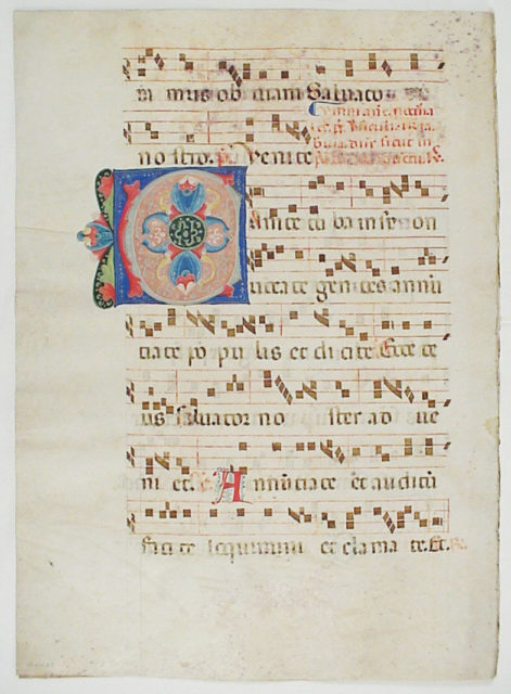 Bifolium with Initial C, from an Antiphonary