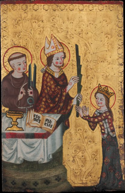 The Bishop of Assisi Giving a Palm to Saint Clare
