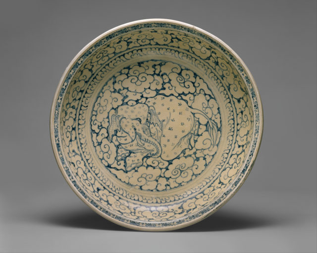 Dish with Recumbent Elephant Surrounded by Clouds