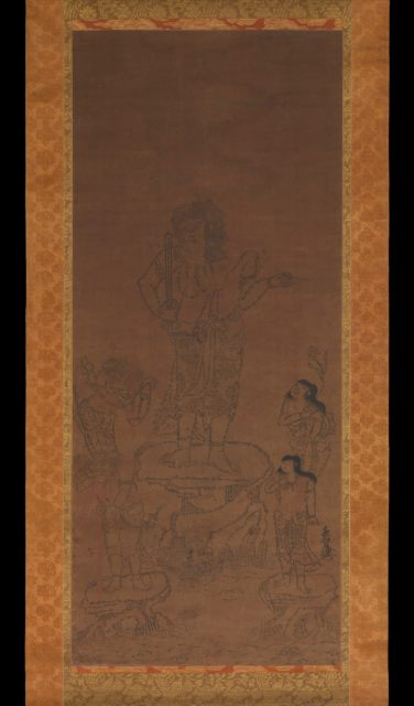 Fudō Myōō with Four Attendants, Outlined in Seed Syllables