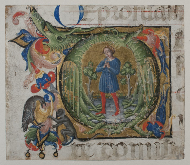 Manuscript Illumination with Initial Q, from a Choir Book