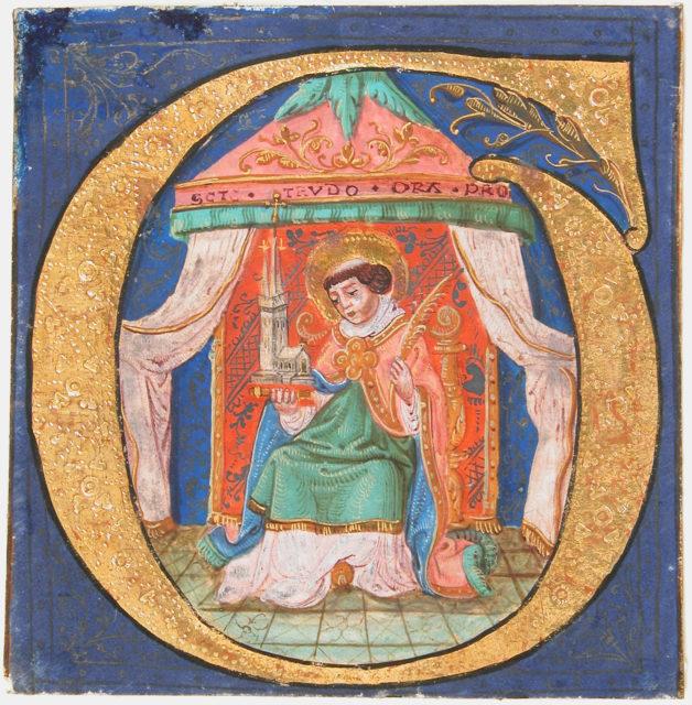 Manuscript Illumination with Saint Trudo (Trond) in an Initial O, from a Choir Book