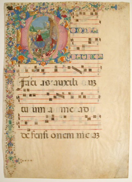 Manuscript Leaf with Entry into Jerusalem on Palm Sunday in an Initial D, from a Gradual