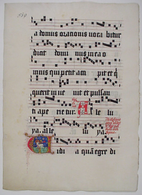 Manuscript Leaf with Initial V, from a Gradual